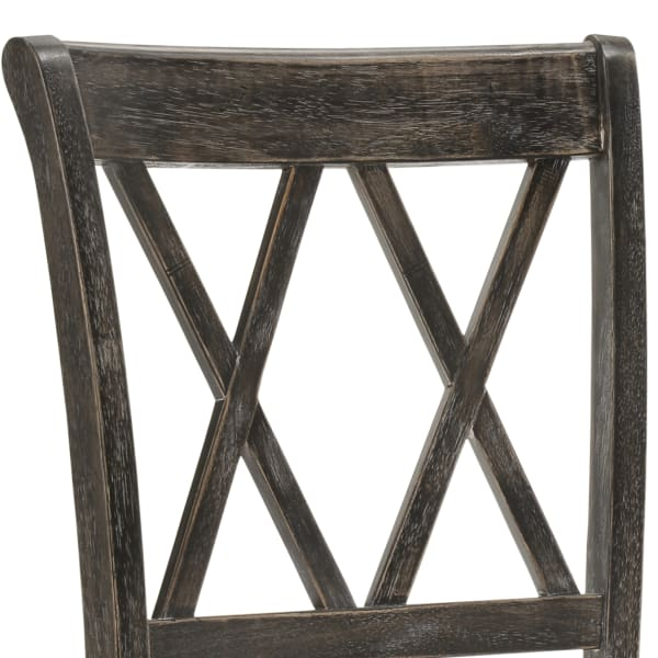 Brown X-Back Set of 2 Wooden Dining Chairs