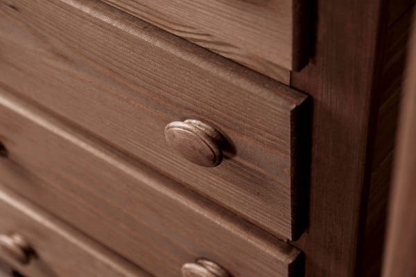 Rustic Style 5 Drawer Wooden Chest