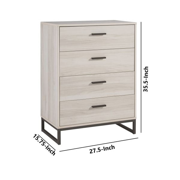 Antique White and Gray 4 Drawer Chest