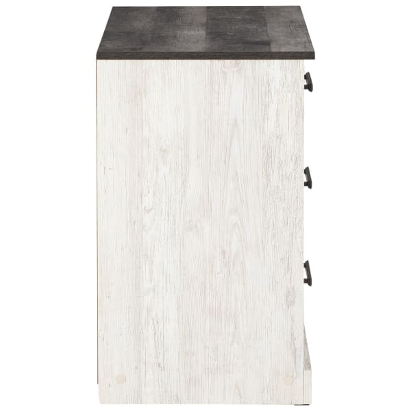 White and Gray 3 Drawer Grain Detail Wooden Chest