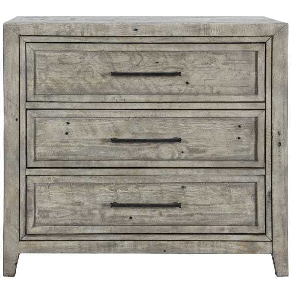 Gray 3 Drawer Hewn Saw Texture Chest