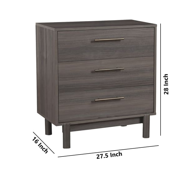 Gray 3 Drawer Wooden Chest