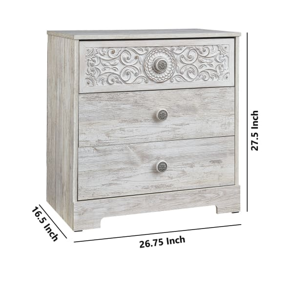 Whitewashed 3 Drawer Floral Carving Wood Chest