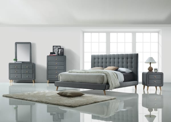 5 Drawer Fabric Gray Chest