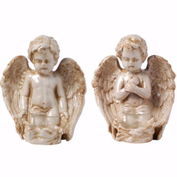 Peacefully Praiseworthy Set of 2 Angels Sculpture