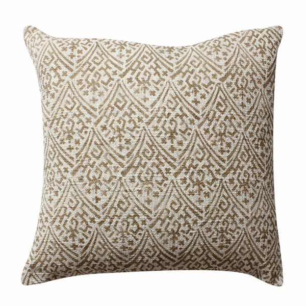 Floral Hand Block Printed Gold and Beige Set of 2 Pillows