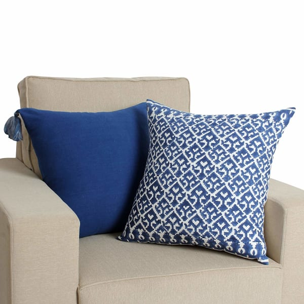 Ikat Pattern Hand Block Printed White and Blue Pillow