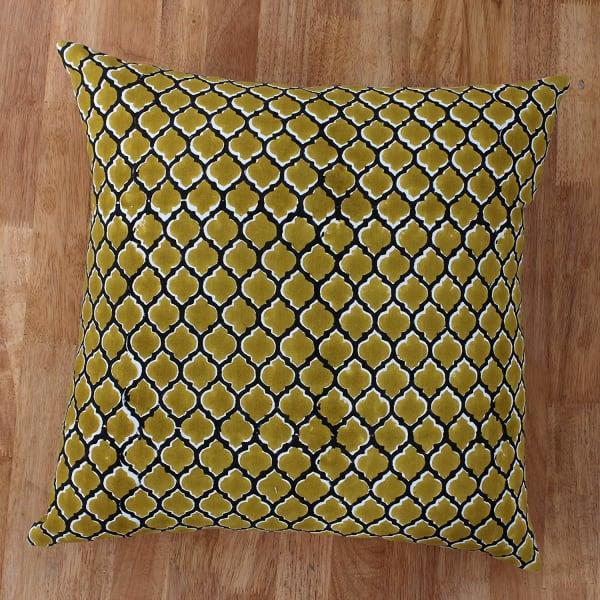 Quatrefoil Hand Block Pillow Yellow and Black Set of 2 Pillows