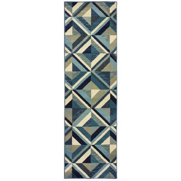 Machine Woven Geometric Blue Grey  Runner Rug