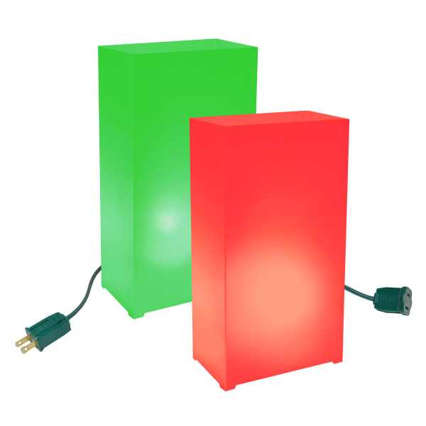 Electric Red and Green Set of 10 Luminaria Kits