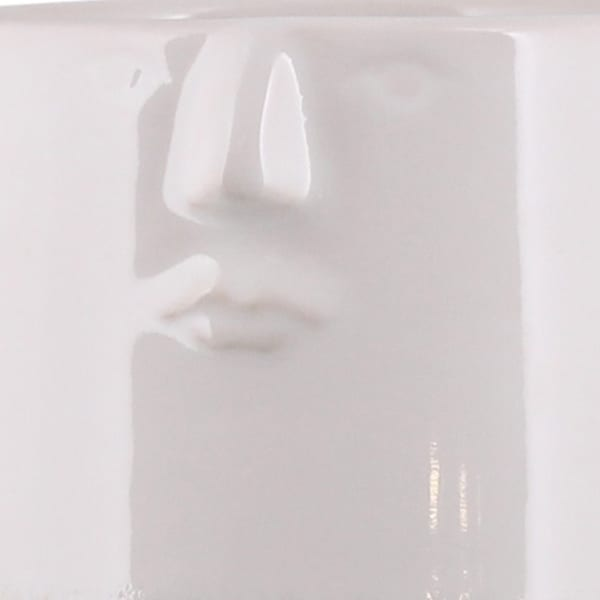 White Textured Ceramic with Engraved Face Vase