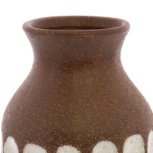 Brown Ceramic Textured with Vertical Stripe Pattern Vase