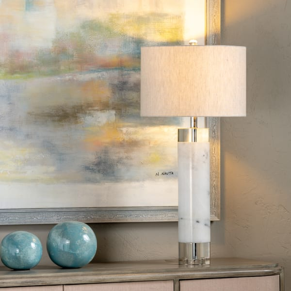 Keyla Marble with Crystal Accents Table Lamp