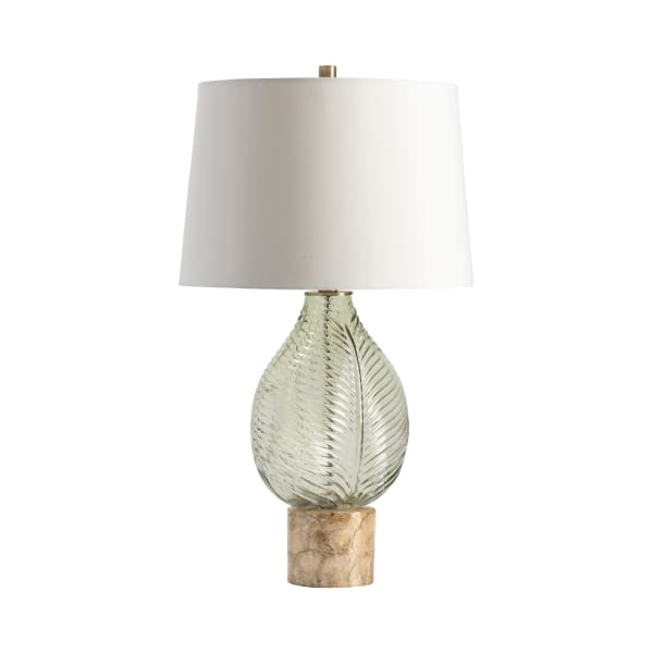 Jade Embossed Leaf with Capiz Shell Table Lamp