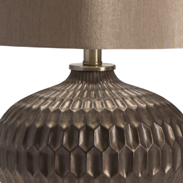 Drey Bronze Ceramic with Matching Silk Shade Table Lamp