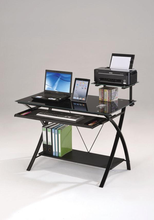 Sleek Black Glass Computer Desk
