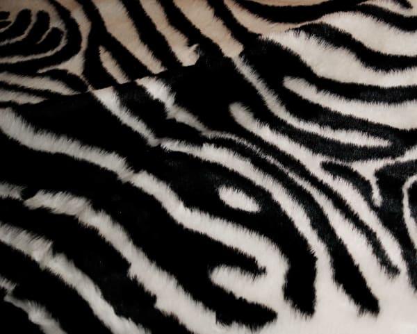 Faux Zebra Hide Black And White Area Rug