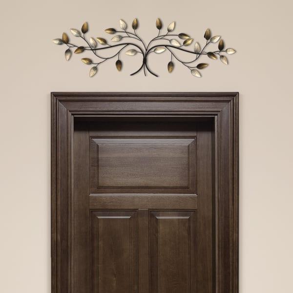 Beige Over The Door Blowing Leaves Metal Wall Decor