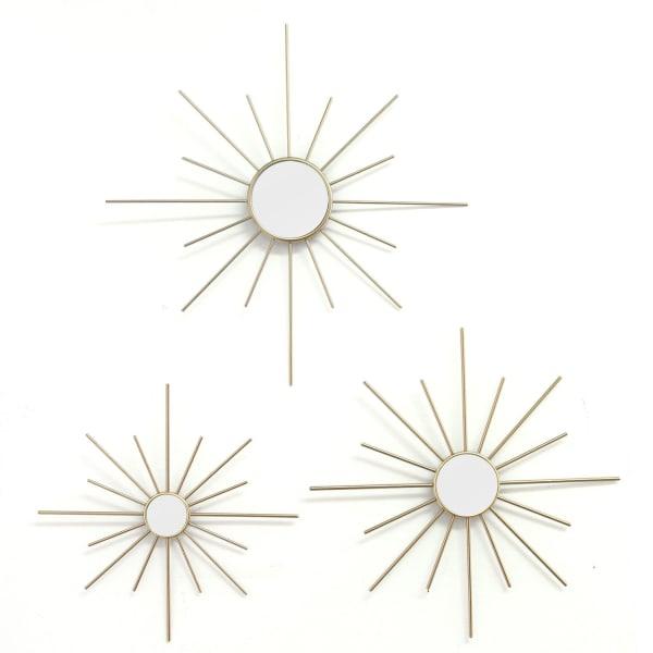 Gold Burst Metal Mirror Set of 3 Wall Decor