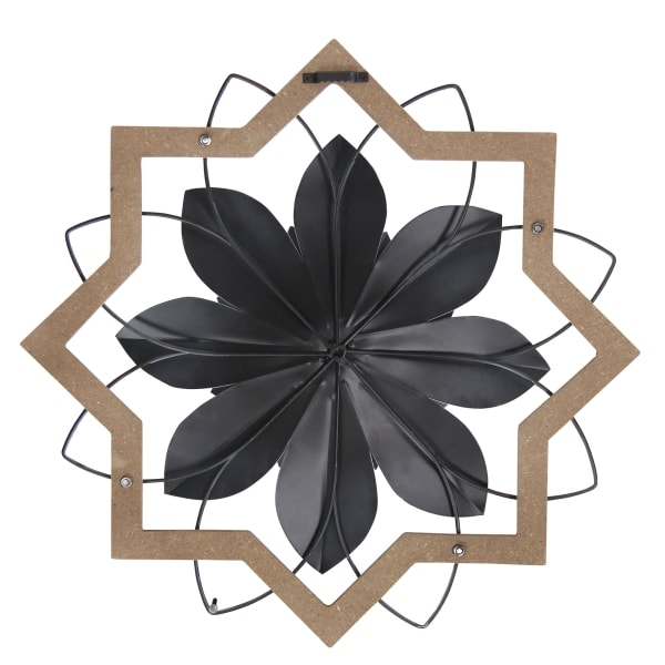 White Flower & Wood Frame Metal Wall Art