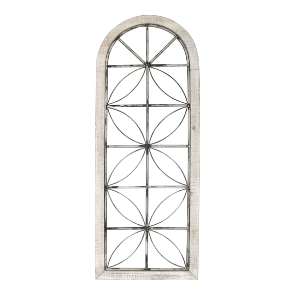 Distressed Window Panel White Metal & Wood Wall Decor