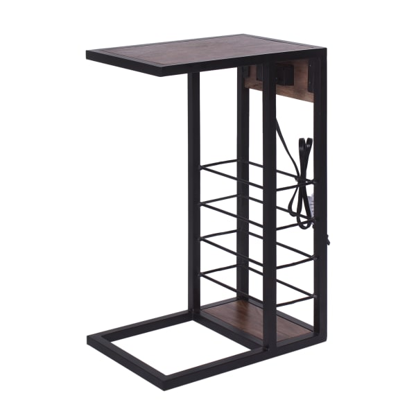 Wood Top and Tall Wire Frame Storage Tech C-Table