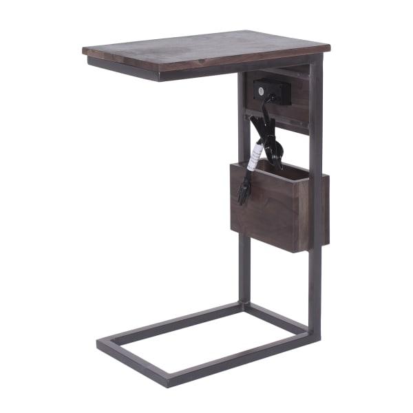 Wood Top and Wood Storage Bin Below Tech C-Table