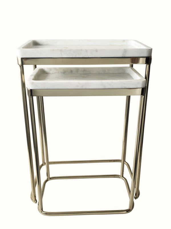 White Marble Top Set of 2 Nesting Tables
