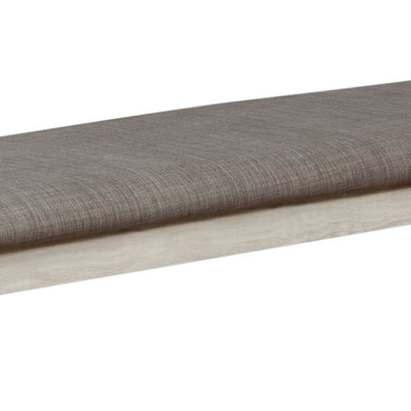 Wooden White and Gray Upholstered Bench