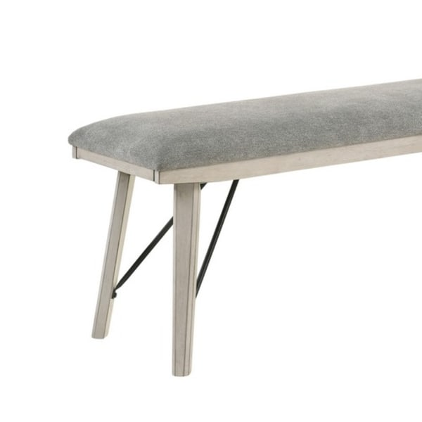 White Fabric with Brace Support Rectangular Upholstered  Bench