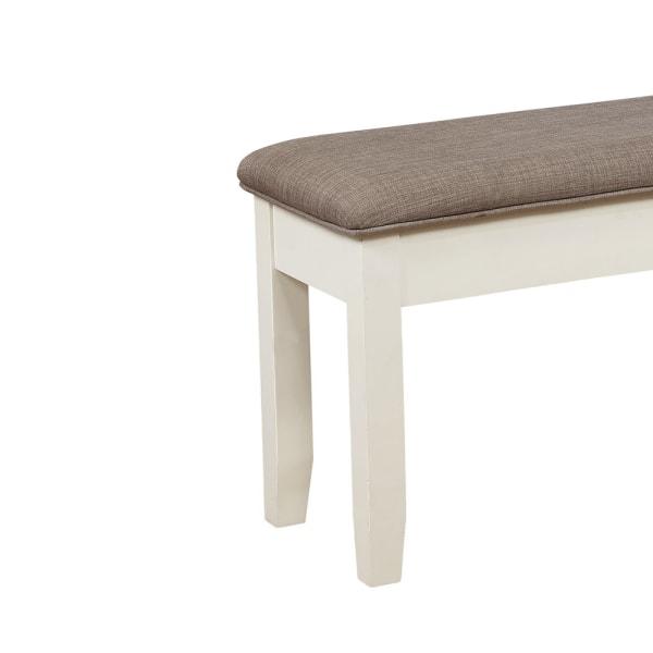 Rectangular Brown and White Hidden Storage Bench