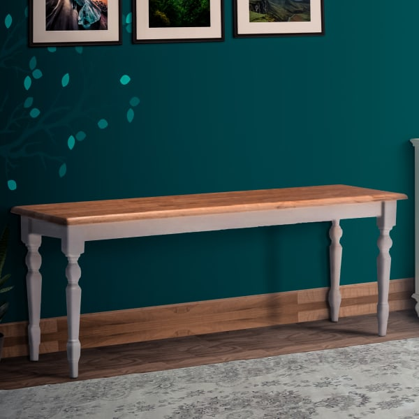 Wooden Natural Brown and White with Turned Legs Bench
