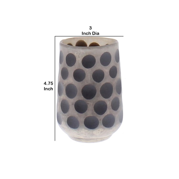 Glass with Polka Dots Pattern Gray Votive Candle Holder