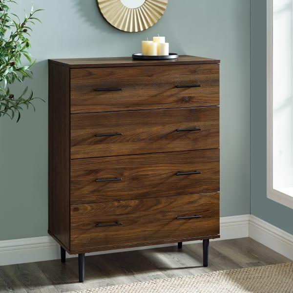 Modern Dark Walnut Tapered Leg 4 Drawer Dresser