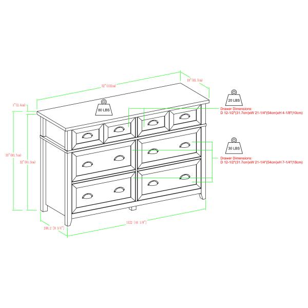 Transitional Farmhouse White Oak 6 Drawer Dresser