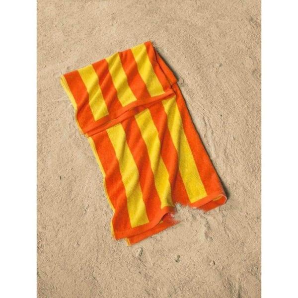 Cabana Striped Yellow and Orange Turkish Cotton Set of 2 Beach Towels