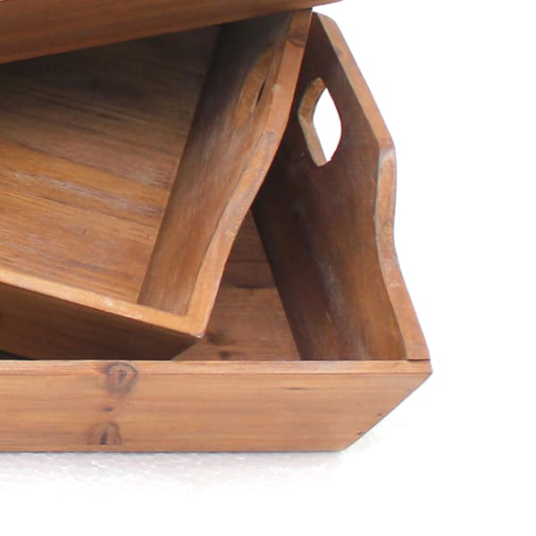 Farmhouse Set of 3 Wooden Serving Trays
