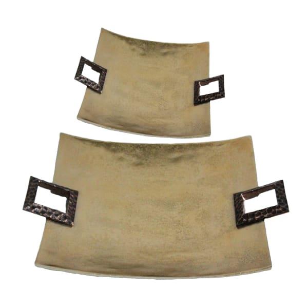 Hammered Detail Set of 2 Metal Trays