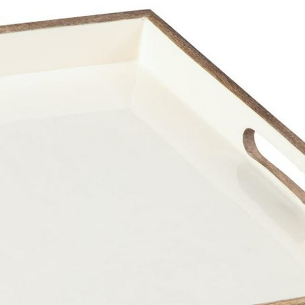 Brown and White Square Wooden Tray
