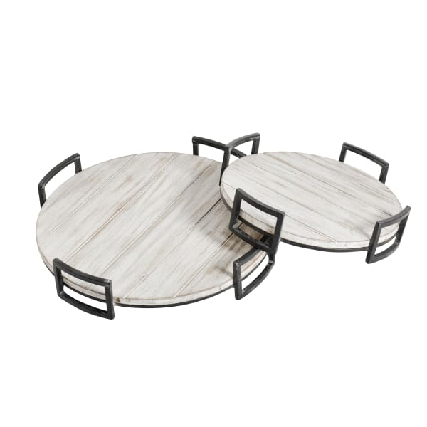 Round Distressed White Set of 2 Wooden Trays