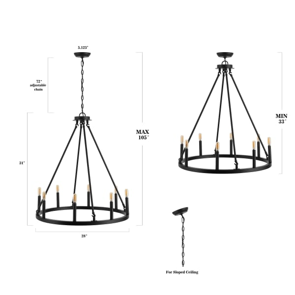 Oberto Ring Iron LED Chandelier
