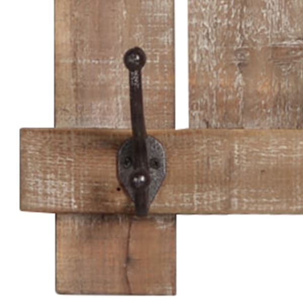 3 Hook Wooden Wall Rack
