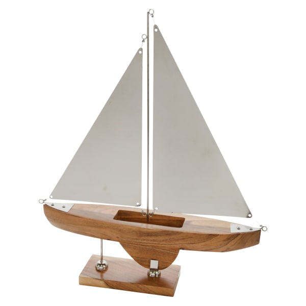 Coastal Sailboat White and Gray Figurine