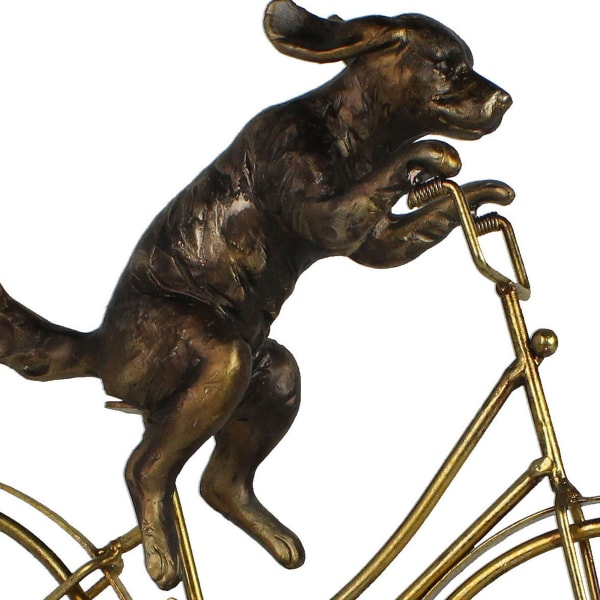 Metal Dog on Bicycle Gold Sculpture