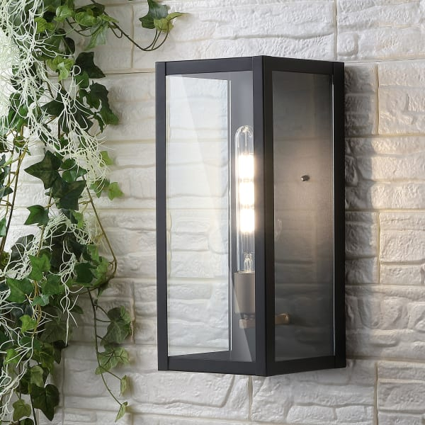 Berlin Modern Industrial Iron and Glass Outdoor LED Wall Sconce