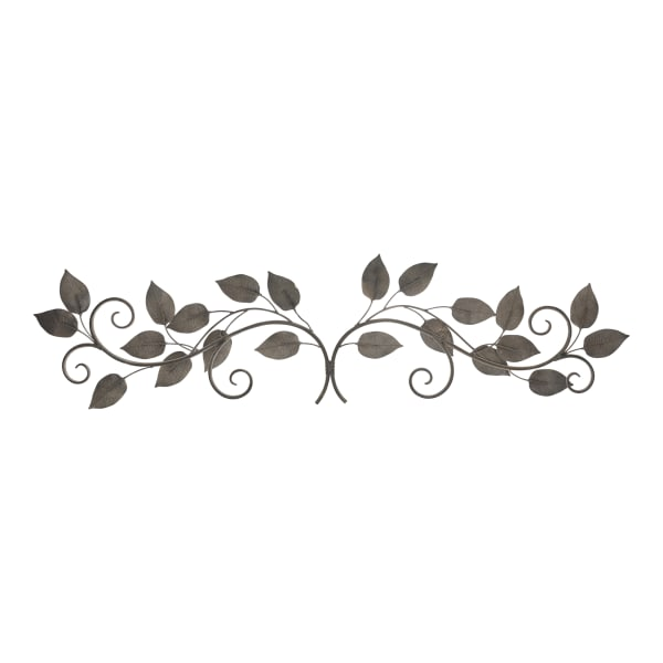 White and Bronze Metal Leaves Wall Decor