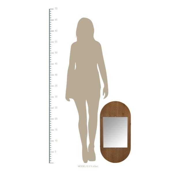 Brown Oval Wooden Wall Mirror