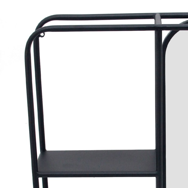 Metal with Mirror Black and Silver Transitional Vertical Wall Shelf