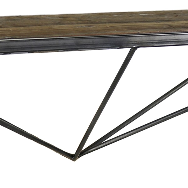 Black and Brown Wood and Metal Geometric Base Wall Shelf