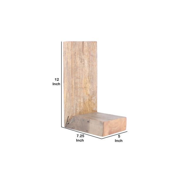 Brown Wooden Traditional in Distressed Finish L Shaped Shelf
